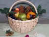 round basket with new years-gift