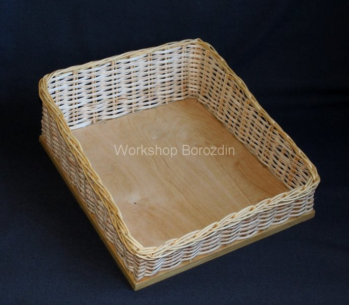 1 wicker box with beveled sides 2